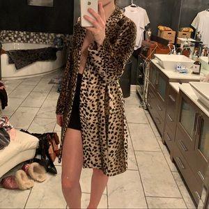 Long cheetah print coat